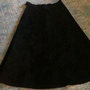 Vintage 100% Leather Suede Black Midi Skirt